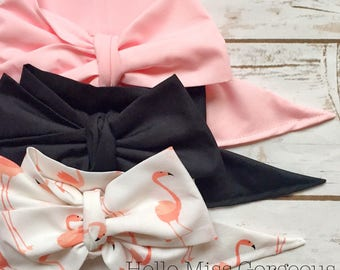 Gorgeous Wrap Trio (3 Gorgeous Wraps)- Pink, Noir & Mingo Love Gorgeous Wraps; headwraps; fabric head wraps; bows
