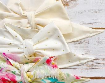 Gorgeous Wrap Trio (3 Gorgeous Wraps)-Ivory, Golden Sky & Ivory Floral Gorgeous Wraps; headwraps; fabric head wraps
