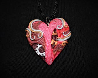 Steampunk Heart Red Polymer Clay Necklace Pendant