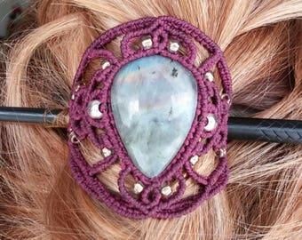 Hair comb, macrame and natural stone hair pin