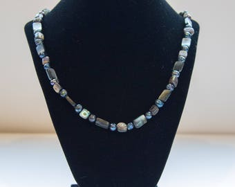 Pearl, mother of pearl, shell necklace, gold, ocean theme