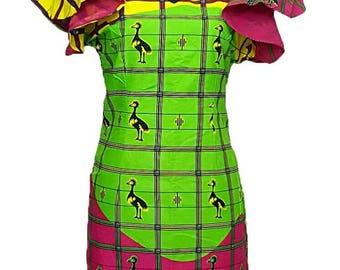 African clothing bodycon dress, African Midi dress Ankara ruffle sleeve dress
