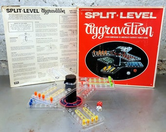 Vintage Split-Level Aggravation Game/A New Dimension America's Favorite Family Game/Family Game Night/Lakeside Industries/For Ages 8 and Up
