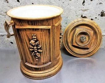 Vintage Ice Bucket/Carved Floral Design in Faux Dark Wood Grain Fiberglass/Owens Corning/Vintage Barware Cooler/Champagne Ice Bucket