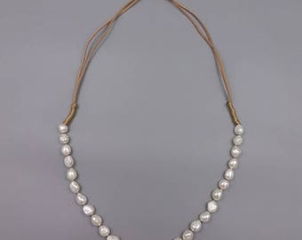 SUMMER SALE Fresh Water Pearl and Leather Long Necklace