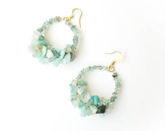 Designer light blue circle earrings long boho gemstone handmade gift for Mom her beaded Latvia unique jewelry exlusive aquamarine amazonite