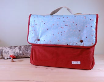 Kids Briefcase CP velvet and blue laminated cotton fabric