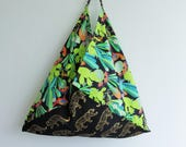 summer tote bag, origami bento bag, beach bag , market shopping bag, reusable eco friendly bag gift ides for her, large tote, cactus fabric