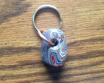 Fordite, Keychain, Multi-Colored, Generous Piece, Pretty Patterns, Copper/Silver Rings