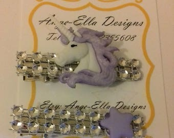Purple unicorn clips