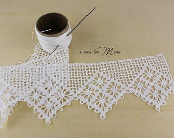Filet crochet etsy for Pizzi all uncinetto per lenzuola