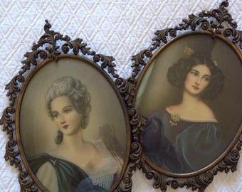 2 retro metal framed glass 60s painting rococo style