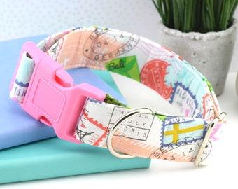 Dog Collar - World Traveler Print Cotton Fabric Dog Collar - Fashion Dog Collar - Custom Dog Collar - Pink Plastic Hardware