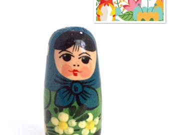 """Vintage Nesting Doll, 1.5"""" Miniature Solid Non-Nesting Doll, Matryoshka Doll, Babushka Doll, Russian Doll. Doll House Figurine."""