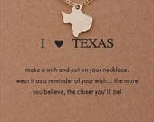 I Love (Heart) Texas Gold Plated Inspirational Necklace