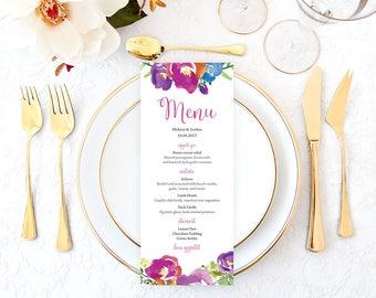 Purple Wedding Menu, Printable Wedding Menu, Purple Floral Wedding Menu, Wedding Menu Cards, Rustic Wedding Menu, Bohemian Wedding Menu