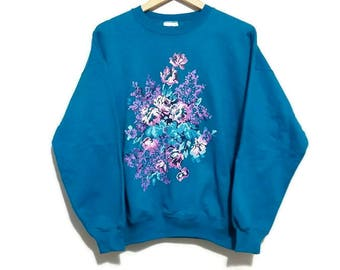 Vintage Floral Sweater Crew Neck Pixelated Flowers Lady Foot Locker - Color Blue - Size Medium / Large