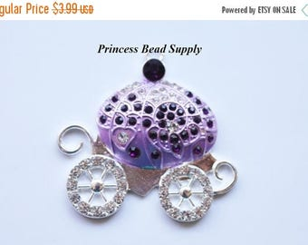 SALE Purple and Lavender Princess Carriage Rhinestone Pendant for Chunky Necklaces, 48mm Carriage Pendant, Chunky Pendant