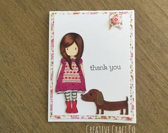 Thank You Card | Girl and Her dog