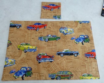 Placemat and coaster set. Vintage cars across Australia. Cotton Fabric.  Washable.