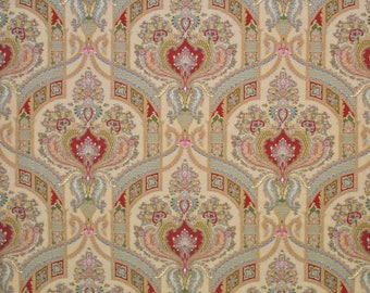 CLARENCE HOUSE STATELY Paisley Medallions Linen Fabric 10 Yards Alabaster Multi