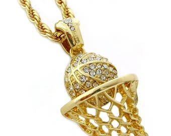 """Iced Out Basketball Hoop Pendant Necklace with 24"""" Rope Chain"""