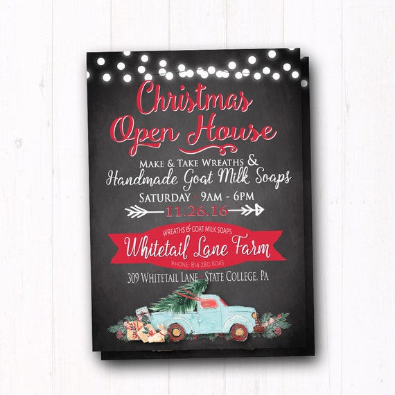 Christmas Holiday Open House Invitation Dinner Party Shop