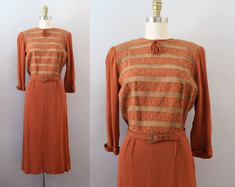 1940s Rayon Dress / Vintage 40s Terracotta Embroidered and Lace Dress / S