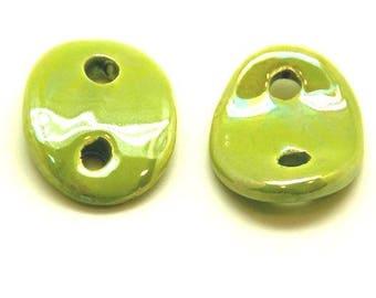 leather 3mm spacer pistachio green ceramic