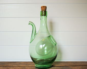 Green Glass Decanter With Ice Chamber