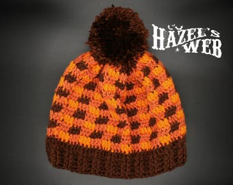 Orange & Brown Plaid Lumberjack Beanie