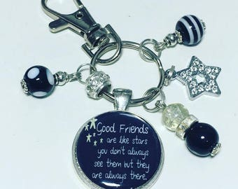 """Good friends keychain, friend gifts  """"Good friends are like stars You don't always see them but they are always there"""" gift"""