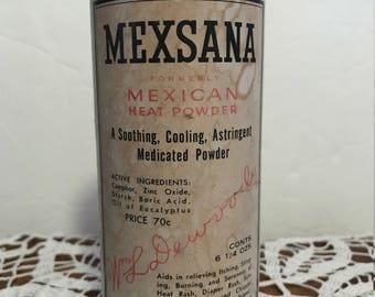Vintage can Mexsana heat powder. 6 1/4 oz. Full twist top. #844
