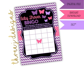 Butterfly Baby Shower BINGO Game - INSTANT DOWNLOAD - Purple and Pink - Digital File - J002