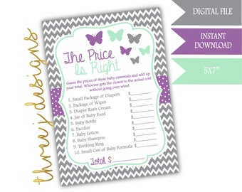 Butterfly Baby Shower The Price Is Right Game - INSTANT DOWNLOAD - Gray, Lavender and Mint - Digital File - J005
