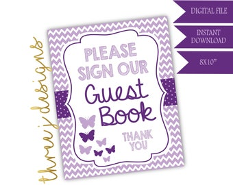Butterfly Baby Shower Guest Book Table Sign - INSTANT DOWNLOAD - Plum and Lavender - Digital File - J004