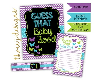 Butterfly Baby Shower Guess That Baby Food Game Cards, Labels and Sign - INSTANT DOWNLOAD - Purple, Teal and Green - Digital File - J006