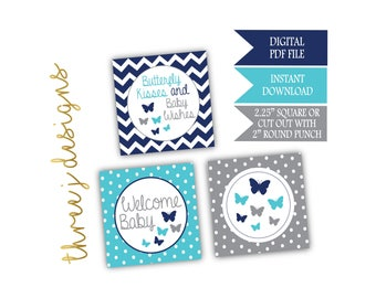 Butterfly Baby Shower Cupcake Toppers - INSTANT DOWNLOAD - Navy Blue, Teal and Gray - Digital File - J007