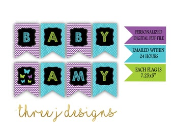 Butterfly Baby Shower Personalized Baby Banner - Purple, Teal and Green - Digital File - J006