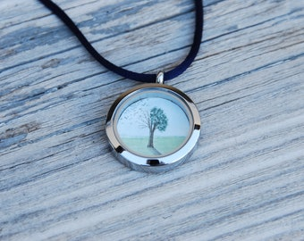 "2018M1* ""Lifetree"" - watercolor painting (original) in a locket necklace"