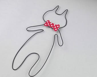 Cat wire - with bow - wall decor - nursery kids baby - handmade Christmas gift