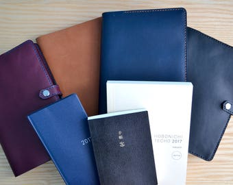 Hobonichi Techo leather cover   Cousin, Planner, Weeks   snap closure, 4 Horween leather colours, all sizes  Journal sleeve notebook