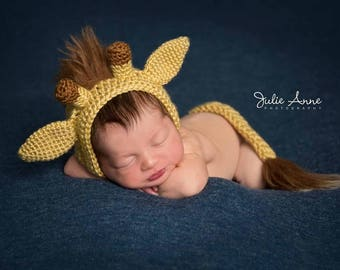 Giraffe Hat - Newborn Props - Giraffe Bonnet and Tail Set - Photo Prop - Giraffe Hat - Baby Shower Gift - Made to Order