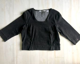 80s Grunge Tommy Hilfiger Denim Crop Top With 3/4 Length Sleeves and a Scoop Neck // Fitted Vintage Black Tommy Shirt // Size 14 or Medium