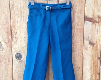1970's Children's Western Flare Leg Trousers / Polyester / Blue / Size 5
