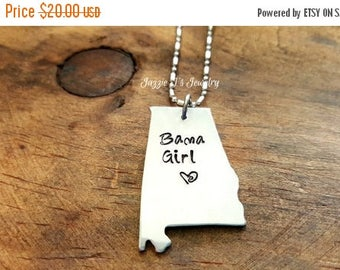 Bama Girl Hand Stamped Necklace, Alabama State Necklace, Alabama Girl Necklace, Southern Jewelry, Alabama, Gift for Her, Sweet Home Alabama