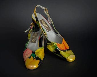 Vintage 1980's Patent Leather Sling Back Shoes, Retro 1980's Floral Patent Leather Sling Back Shoes, Retro 1980's Made in Spain Sling Backs