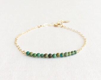 Gold Turquoise Bracelet, 14k Turquoise Bracelet, Turquoise Bracelet, Dainty Turquoise Bracelet, Turquoise Bead Bracelet,14kt Bracelet GBB12