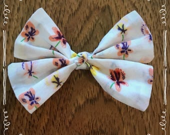 Cream with Yellow and Peach/Pink Flowers Hair Bow