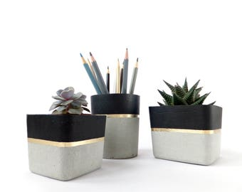 Set of 3 concrete pots cement planters pencil holder modern home decor industrial style beton deko small square pot for office